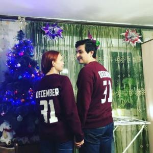 Свитшот для пары напечатать с именем и цифрами Сергиев Посад